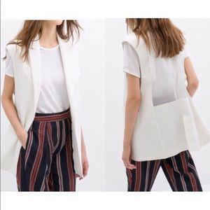 Zara Basic Sleeveless Blazer Sheer Back in Cream